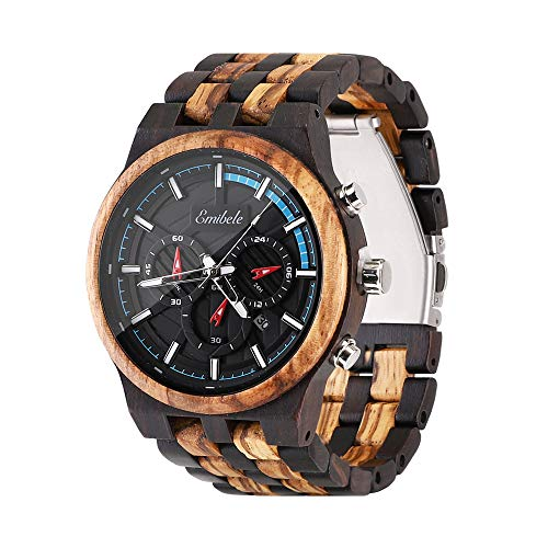 Emibele Herren Holzuhr, Chronograph Quarzuhr Armbanduhr mit Datum, 3 Zifferblätter Leicht Handgefertigt Leuchtuhr - Ebenholz & Zebrano-Holz