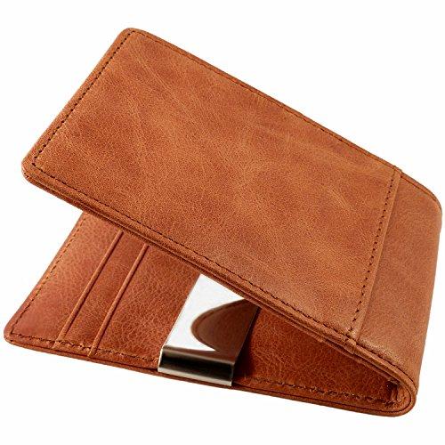 CAUTENA Premium Echtleder Portemonnaie mit Geldklammer als Kartenetui | Geldbörse mit Geldscheinklammer | Brieftasche als Kreditkartenetui mit Geldclip und RFID Schutz | edel und modern (cognac-braun)