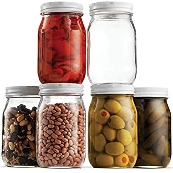 Glass Mason Jars  6 Pack  - Regular Mouth Jam Jelly Jars Metal Airtight Lid USDA Approved Dishwasher Safe USA Made Pickling Preserving Decorating Canning Jar Craft and Dry Food Storage  16 Ounce