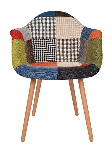 ts-ideen Sedia Poltroncina stile Patchwork retró anni '50 in legno di faggio rivestito in lino 100%