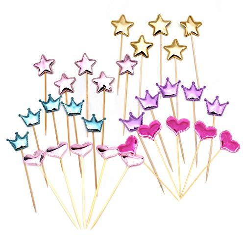 Kitchen-dream 30 Stücke Schöne Pu-leder Form der Krone, Pentagramm, Herz Cupcake Topper für Cocktail Sticks Lebensmittel Zahnstocher Party Hochzeitstorte Topper Dekorationen