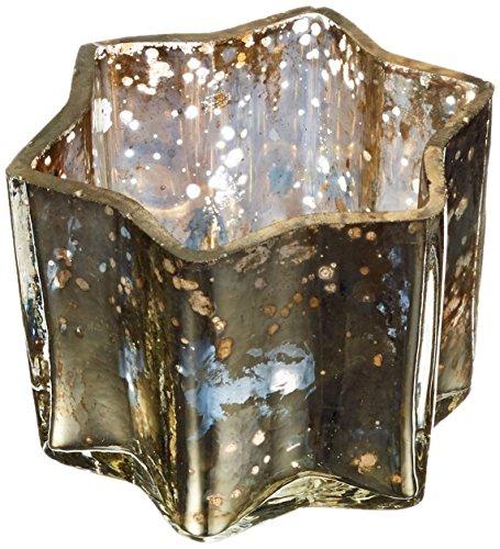 Insideretail-Porta lumini con in Legno Invecchiato, in Vetro, Colore: Argento, 7 x 4,5 cm, Confezione da 48