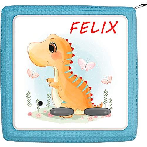 Coverlounge Schutzfolie passend für die Toniebox | Folie Sticker | Baby T-Rex Dinosaurier Dino und Schmetterlinge mit Name personalisiert