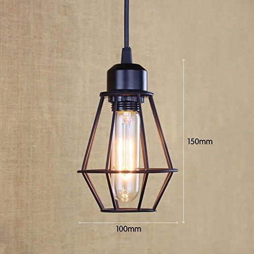 OOFAY Lampe Suspension Lustre Cage en fer Abat-jour avec Douille Eclairage de Plafond Style Industrielle Vintage Retro(avec ampoule à fil de tungstène), B