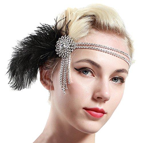 ArtiDeco 1920s voorhoofdband met veer in jaren 20 stijl flapper haarband gatsby hoofdband dames kostuum charleston accessoires