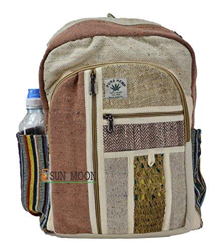 Bianco e Nero tela di canapa zaino–Zaino scuola 100% pura canapa zaino a mano Nepal moda carino viaggi scuola College tracolla/Bookbags/Daypack