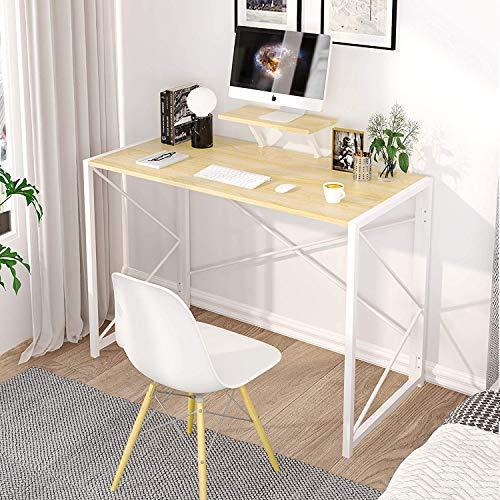 MSmask Schreibtisch Klapptisch Computertisch Einfacher Kleiner Tisch für das Home Office, platzsparend (Buche+Ständer)