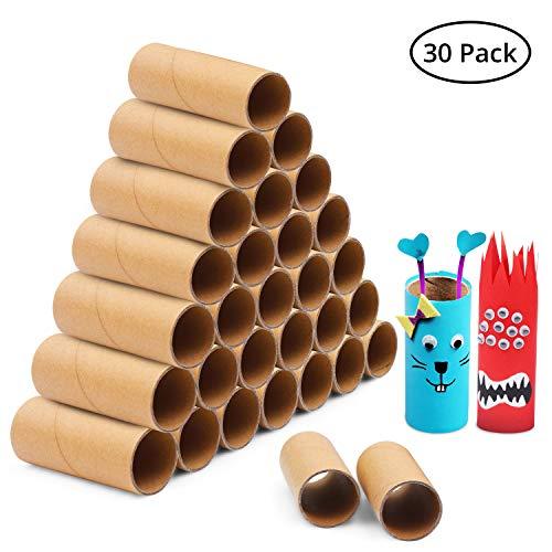 Handi Stitch Papprollen (30 Stk) - 10cm Braune Papierrolle - Stabile Papier Karton Rollen - Bastelrollen für Kinder DIY Bastelarbeiten, Klassenzimmer Projekte, Spiele, Schule
