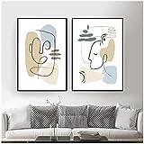 Obra de Arte para el hogar 50x70cm 2 Piezas SIN Marco Caras abstractas Modernas Pintura geométrica en Lienzo Cuadros de Arte de Pared contemporáneos para la Sala de Estar Decoración del hogar