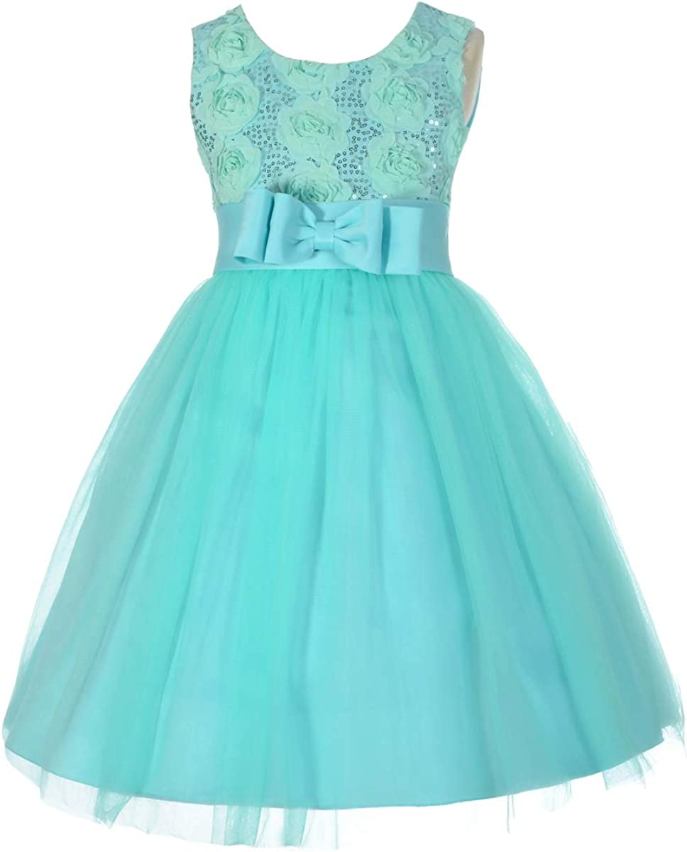 Dressy Daisy Girls Wedding Flower Girl Tulle Dress Pageant Gown Fancy Party Outfit for Special Occasion Turquoise Green