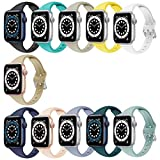 YSSNH Compatible with Apple Watch Bands 38mm 40mm for Women, Slim and Breathable, Silicone Sport Wristband 42mm 44mm for iWatch Series SE 1 2 3 4 5 6, Men