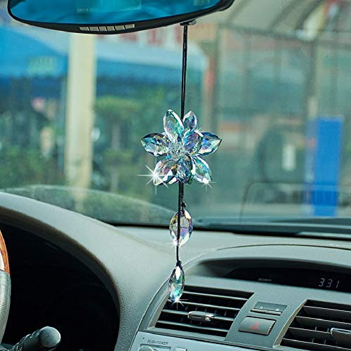 ATMOMO Crystal Flower Car Rear View Mirror Pendant Car Hanging Ornament Lucky Car Accessories (Colorful)