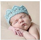 Romote Nueva hecha a mano recién nacido del muchacho del bebé de punto de ganchillo Corona Sombrero apoyo de la fotografía (azul)
