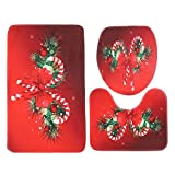 DOACT 3Pcs/Set Alfombrillas Antideslizantes de baño de Navidad Rojas, Alfombra de Alfombra de Inodoro de poliéster, para Ducha de Uso doméstico