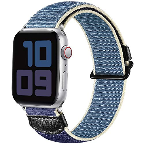 JUVEL Compatible with Apple Watch Strap 44mm 42mm, Soft Sport Loop Breathable Nylon Fabric Replacement WristBands Compatible for Apple Watch SE/iWatch Series 6/5/4/3/2/1, Women Men Seablue
