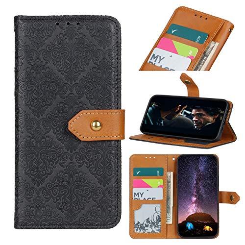 MAXJCN Etui de téléphone pour Galaxy S21 Plus 5g (6,7 Pouces), Nouveau boîtier de Portefeuille en Cuir de Fleur de Grillage de Style, Durable à la Mode. (Color : Black)