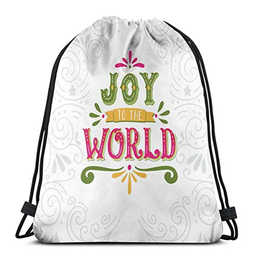 Rucksäcke Taschen, Freude an der Welt Schriftzug mit geometrischen Linien Strudel und Schnörkel Muster Weihnachten Thema, verstellbare Schnurverschluss