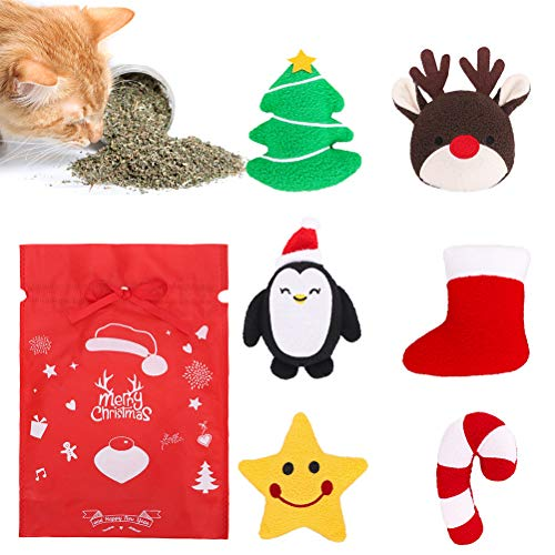 KOOLTAIL Christmas Catnip Toy for Indoor Cats - 6 Pack Snata Soft Interactive Cat Catnip Toy, Xmas Cat Chew Toys with Natural Catnip Filled, Gift for Your Cat, Kitten