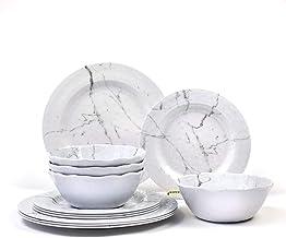 Nicole Home Collection - Vajilla de melamina, 12 piezas, diseño de mármol