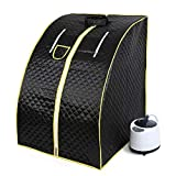 Mobile Mini steam Sauna Home Sauna Heat Cabin Seat Sauna Sauna Cabin (Black)