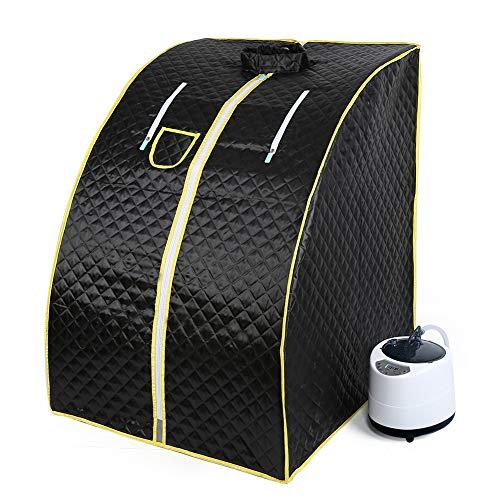 Mini sauna mobile a vapore Sauna domestica Cabina termica Sauna per sedersi Cabina sauna (nero)