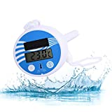 Solar Pool Thermometer, Digital Solar Floating Water Thermometer, Easy Read Shatter Resistant Swimming Bath Thermometer with High Precision, Small Temperature Crystal Display Machine Spas Hot Tubs