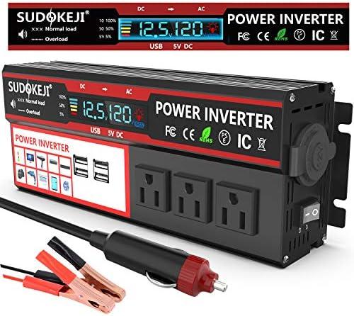 SUDOKEJI Power Inverter 800W 2000WDC 12V to 110V 120V AC Converter car Adapter 3AC Socket with product image