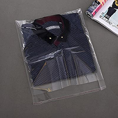 J-Beauty 9 x 13 Inch Clear Apparel Bags Self Seal Flap for T-Shirt,Clothes,Party Wedding Gift Bags