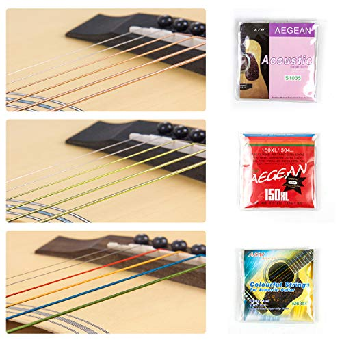 lotmusic Acoustic Guitar Strings Changing Kit Tool Kit (Strings Tuner Picks Capo Pins String Cutter and Winder)