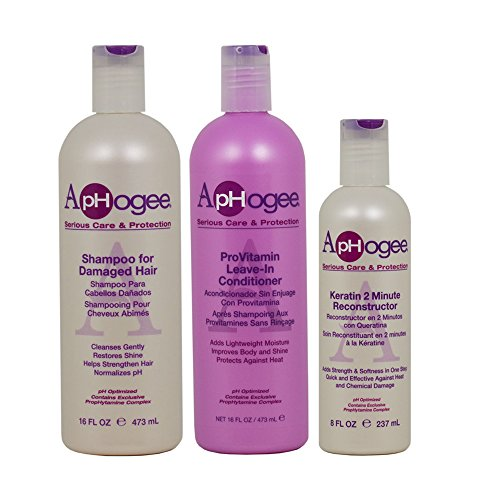 ApHogee Shampoo for Damaged Hair + ProVitamin Leave-In Conditioner 16oz + Keratin 2 Minute Reconstructor 8oz'Set'