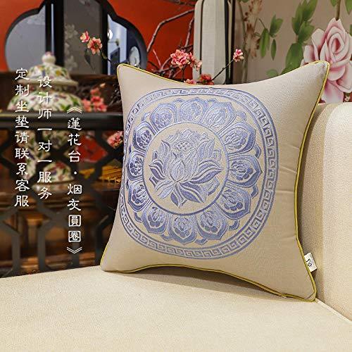 Nuevo y moderno sofá chino de algodón y lino apoyado en la almohada bordado junto a la cama almohada grande sala de estar oficina lumbar-50x50 (funda de cojín)_Lotus Terrace Circle'Fresno ahumado'