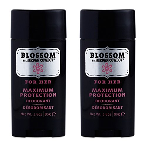 Herban Cowboy Woman's Natural Grooming Maximum Protection Deodorant, Blossom Scent (Pack of 2) with Aloe Vera, Rice, Rosemary and Sage, Organic and 100% Vegan, Paraben and Aluminum Free, 2.8 oz each