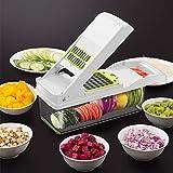 Promworld Cocina Vegetal Trituradora,Artefacto para Cortar y Cortar en Cubitos, Dispositivo para Cortar Papas en Cubitos domésticos-Blanco + Guantes,Espiral de Vegetal Calabacín
