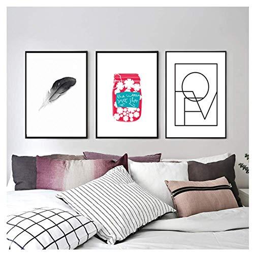nr Nordic Style Home Decoration Canvas Schilderij Bedrukte Cartoon Veer Liefde Fles muurkunst-40x60cmx3 Frameloze