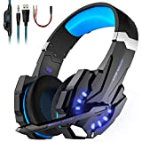 LESHP Auriculares Gaming Cascos Gaming Auriculares Juegos para PS4 / PC/Xbox One/Switch/Tableta/Celular- Headset con Micrófono, Audio Estéreo,Led Luces,Amicrófono Antiruido