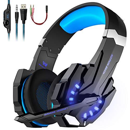PREUP Casque Gamer PC avec Anti-Bruit, Réglable Micro Basse Stéréo, 3.5mm Jack et LED Lumière Casque PS4 pour PC/Xbox/Switch/Mac/Ordinateur/Laptop(Bleu)