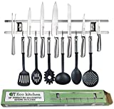 Magnetic Knife Strip 18 Inch - Best Kitchen Magnetic Knife Holder - Wall Knife Magnet - Magnetic Knife Rack Bar With 6 Hooks in Gift Box - 5 Years Guarantee