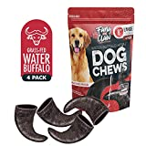 Water Buffalo Horn Dog Chew 4 Pack Various Sizes All Natural Free Range Grass Fed Single Source Protein - No Chemicals, Additives, Hormones - Long Lasting, Good for Aggressive Chewers – by Fang & Claw