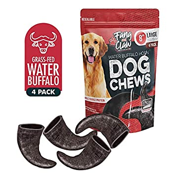 Water Buffalo Horn Dog Chew 4 Pack Various Sizes All Natural Free Range Grass Fed Single Source Protein - No Chemicals Additives Hormones - Long Lasting Good for Aggressive Chewers – by Fang & Claw