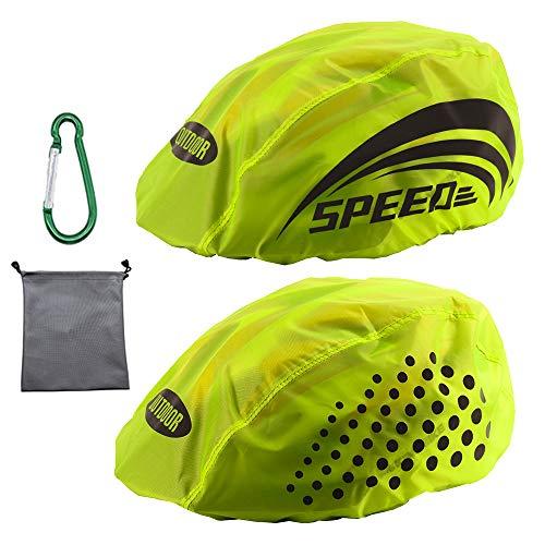 LandJoy Helmüberzug Fahrradhelm Regenschutz Fahrrad Helm Cover Regen mit Reflektoren Elemente, Wasserdicht Windabweisend Atmungsaktiv (2 Stück)