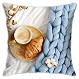 Osmykqe Funda de Almohada Copa Cappuccino Croissant Azul Pastel Gigante Throw Pillow Cover Fundas de Cojines Decorativos para el hogar