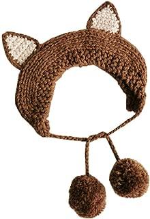 COMVIP Girls Lace-up Cute Crochet Hair Band Kids Knit Headband Earflap Hat