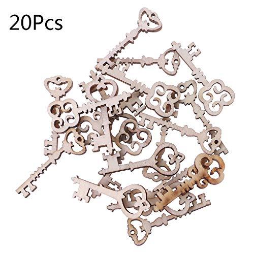 Koobysix - 20 piezas de madera para decorar las llaves de la boda, manualidades, decoración, decoración de madera, decoración de madera natural