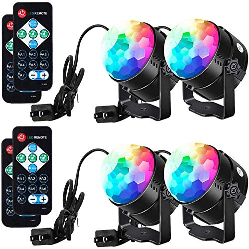 LUNSY Sound Activated Party Lights with Remote Control Dj Lighting RGB Disco Ball Light, Strobe Lamp 7 Modes Stage Par Light for Home Room Dance Parties Bar Xmas Wedding Show Club - 4 Pack