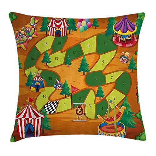 Bordspel gooien kussen kussensloop, Circus thema ontwerp Jokers Tents ballonnen bomen speelse vreugdevolle Cartoon Field, decoratieve vierkante Accent kussensloop, 18 X 18 inch, Multi kleuren