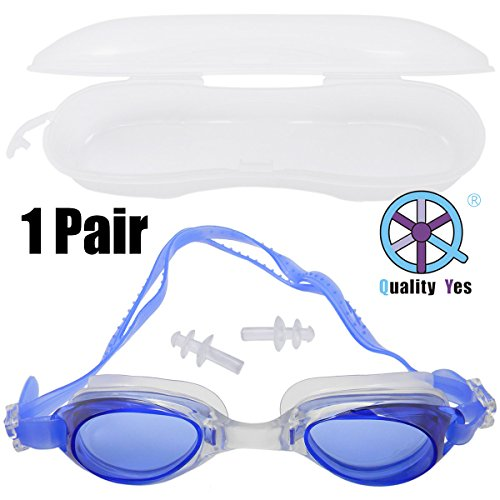 Quality Yes QY Blue Swimming Goggles Set Anti Fog Shatterproof UV Protection Swimming Glasses for Men Women Kids-Best Swim Goggles