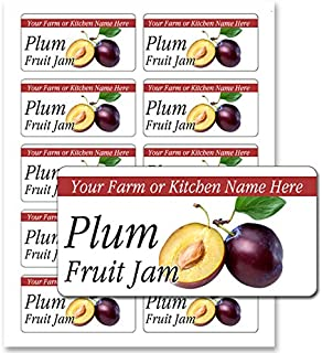 Fruit Jam Jelly Rectangle Personalized Farm Kitchen Name Mason Jar Labels (Plum, 200 Labels on 20 Sheets)