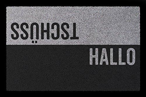 Interluxe TÜRVORLEGER Fußmatte Hallo TSCHÜSS Haustür Eingang Flur 60x40 cm Viele Farben Hellgrau