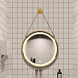 Espejo Baño Colgante Iluminado por LED con Correa para Colgar, Espejo de Tocador Moderno Redondo Elegante con Interruptor Táctil y Antivaho Antivaho, Marco de Metal