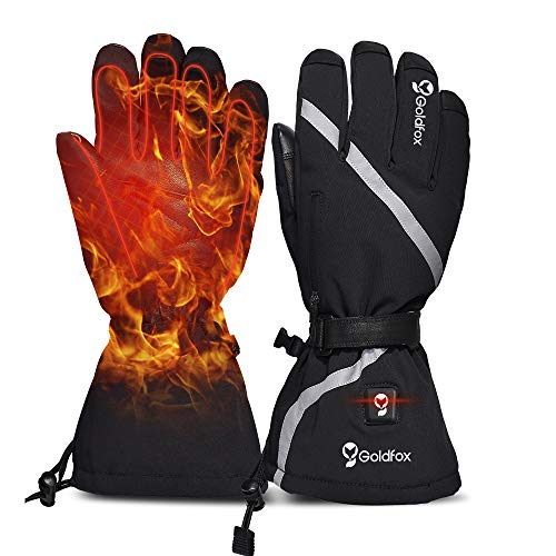 Heated Gloves Men Women Hand Warmer Gloves Motorcycle Thermal Gloves Mittens Winter Electric Heating Gloves for Outdoor Work Driving Skiing(2XL)